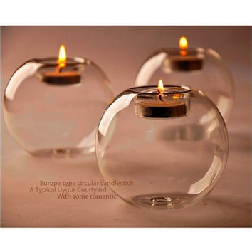 Round Hollow Crystal Glass Candle Holder Wedding Fine Candlestick Dining Room Home Decoration [8270575105]