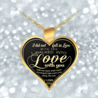 Heart Necklace For Girlfriend - Love Quotes - Romantic Gift For Wife - Gold Pendant-