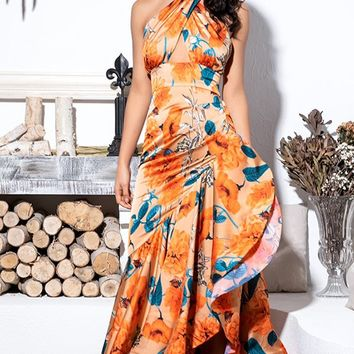 Love Actually Orange Blue Floral Pattern Sleeveless Cross Wrap Halter Cut Out Asymmetric Ruffle Mermaid Trumpet Maxi Dress