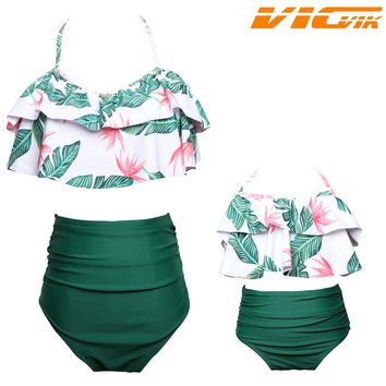 2018 Summer Family Bikini Clothes Mother and daughter Family Matching Swimwear Mermaid Floral Family Look Mom& Daughter Swimsuit