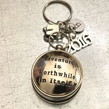 Adventure is Worthwhile in Itself Working Compass, Open Face Compass, Compass, Amelia Earhart, Travel Gift, Graduation Gift, Fathers Day