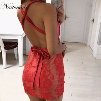 NATTEMAID New Arrival Lace Dress Back Zipper Spaghetti Strap Dress Split Hem Sexy Backless Floral Lace Red and Blue Lace Dresses