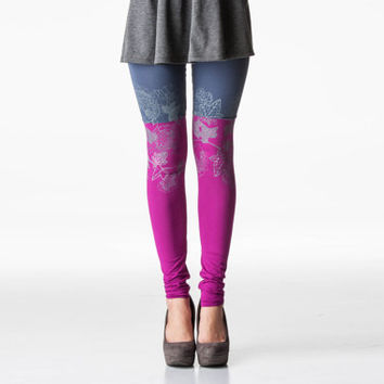 Purple and grey ice flower print leggings
