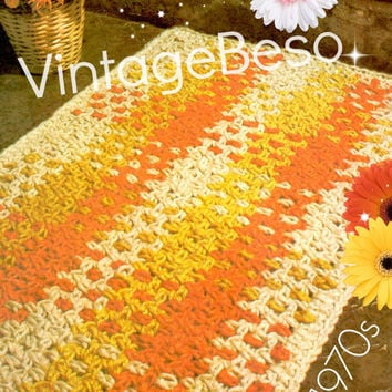 Rug Crochet Pattern Vintage 1970s Woven Rug Crochet Pattern Feel of Macrame Mat Instant Download PdF Pattern
