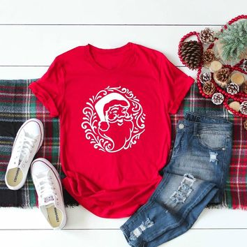 Santa T-Shirt graphic funny cotton Womans Christmas Tee Holiday gift red Festive celebration aesthetic party style grunge tops