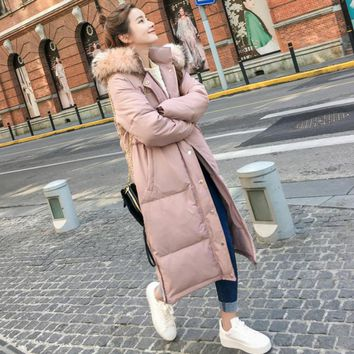 Hirsionsan Winter Coat Women Large Fur Collar Hooded Long Jacket Thicken Warm  Padded Parkas 2017 Oversized Military Parka A877