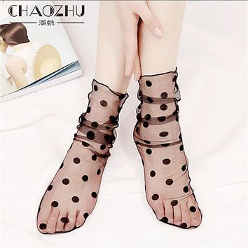 CHAOZHU 2017 New Fashion Lady Sheer Black Hollow Net Socks For Women Summer Sexy Net Yarn Silk Trendy Street Snap Socks