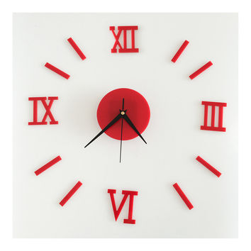 Roman Digit Acrylic Wall Clock Decoration    red acrylic