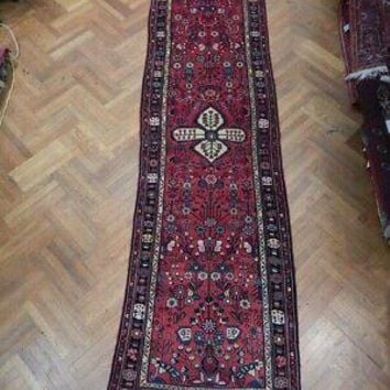Wide Runner Persian Handmade Rug 4 x 13 Tribal Floral Original Hamadan Red Rug