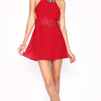 BACKLESS STRAPPED LACE PARTY DRESS - RED