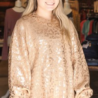 Rose Gold Leopard Print Knit Sweater {Taupe}