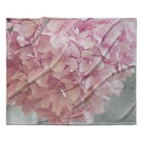 "Suzanne Harford ""Pastel Pink Hydrangea Flowers"" Pink Floral Fleece Throw Blanket"