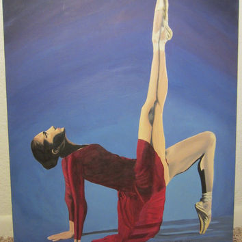 Ballet Dancer in Silhouette Original Acrylic Painting on Canvas