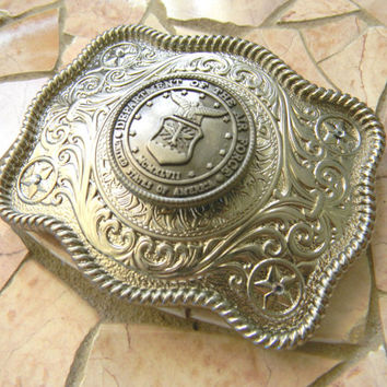 Air Force Silver Concho Belt Buckle, Western Womens Mens Engraved Military Belt Buckle, USAF Wife Girlfriend , US Air Force, Groomsmen Gift