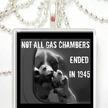Not all gas chambers ended in 1945   Large Tile Pendant Necklace