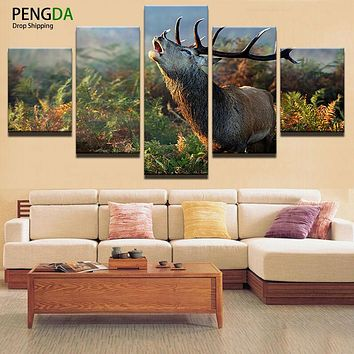 Abstract Painting Photo Wall Modular Pictures 5 Panel Animal Deer For Living Room Decorative Painting HD Poster Canvas Painting