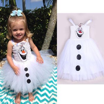 Flower Girl Dress Frozen Olaf Dress Lace Tutu Baby Pageant Party Dress Clothing