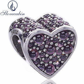 Slovecabin Dazzling Heart Charm Bead Fit For Pandora Bracelet High Quality Romantic 925 Sterling Silver Bead DIY Jewelry Marking