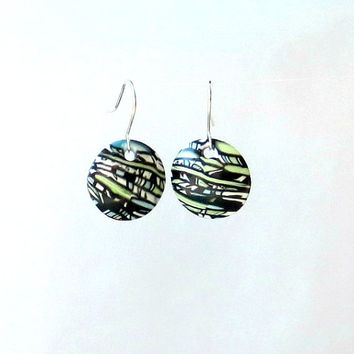 Black Striped Dangle Earrings - Domed Disks - Silver Plated French Hooks - Polymer Clay Stroppel Cane Millefiori - Mixed Media Jewelry
