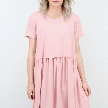 Basic Suedette Smocked Babydoll Dress {Dusty Rose}