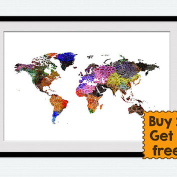 Watercolor world map illustration World map poster World map print Home decoration Kids room wall art Office wall decor Christmas gift  W346