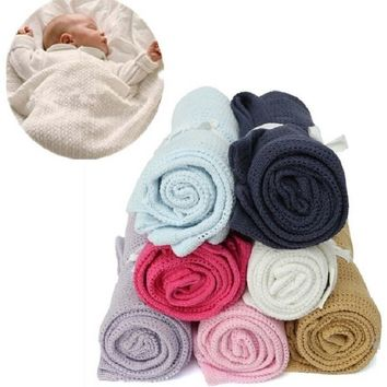 Giol Me Num Newborn Baby Blankets Super Soft Cotton Crochet Summer Candy Color Prop Crib Casual Sleeping Bed Supplies Hole Wrap