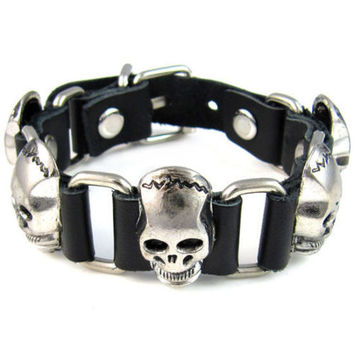 Celtic Cross/Skull Stud Leather Bracelet for Bikers