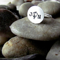 Sterling Silver Hand Stamped Monogrammed Ring