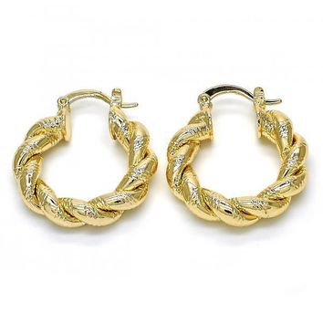 Gold Layered 02.261.0034.25 Small Hoop, Twist Design, Polished Finish, Golden Tone