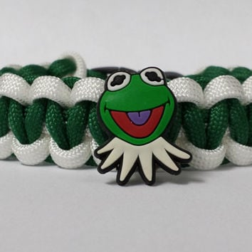 Kermit Bracelet, Kermit The Frog Bracelet, Muppets Jewelry, Green and White Bracelet, Kermit Custom Bracelet. 26 Colors to choose from