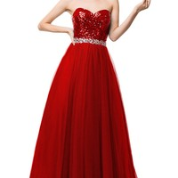 Sunvary Gorgeous Sequin Tulle Prom Pageant Evening Dresses for Bridesmaid