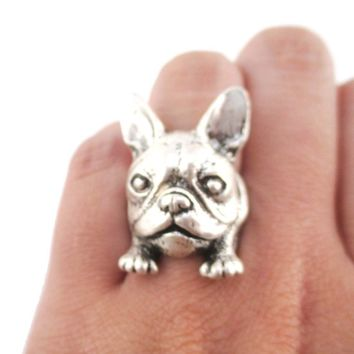 3D French Bulldog Face Shaped Adjustable Animal Ring in Silver