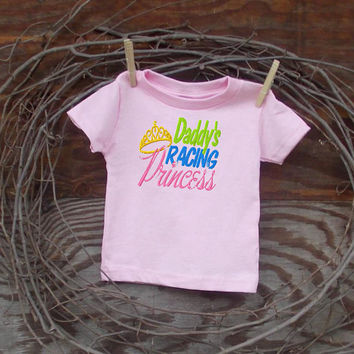 Baby Girl Clothes T shirt  6, 12, or 18 months, NASCAR princess race car saying, pink or blue