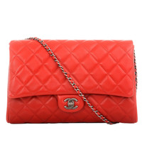 Chanel Red New Clutch Classic Quilted Lambskin Flap Bag