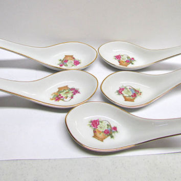Vintage set of 5 porcelain decorative spoons