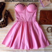 Sexy Pink Bustier Dress with Studs and with Adjustable Straps - Size XS/S/M - Smoky Mountain Boutique