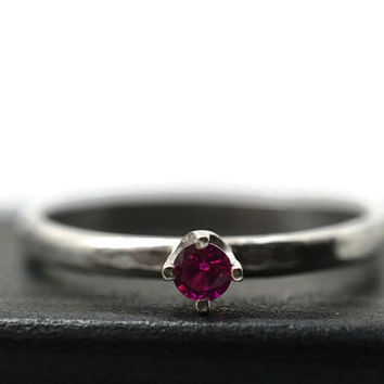 3mm Ruby Ring, Minimalist Engagement Ring, Handforged Silver Ring, Ruby Jewelry, Ruby Promise Ring