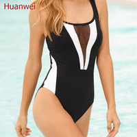 2017 New bandage Bikinis Brand Swimwear Women Sexy High Waist one piece swimwear black mesh Swimsuit Push Up women Bathing Suit