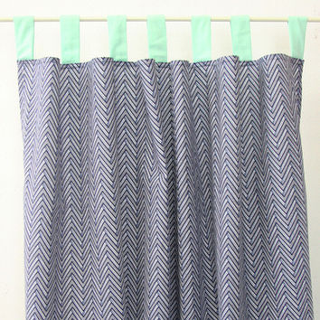 Navy Chevron Curtain Panels