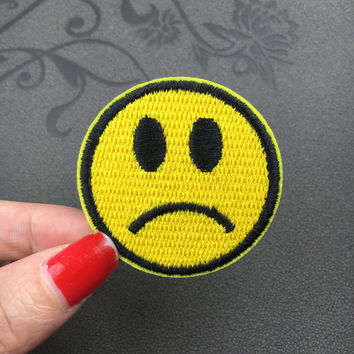sad face embroidered patch iron on patch sew on patch iron on patches