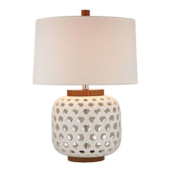 Woven Ceramic Table Lamp in White And Wood Tone