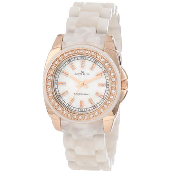 Anne Klein 10-9668RGIV Women's Resin Bracelet Rose Gold Tone Steel Watch