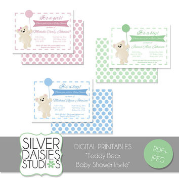 Baby Shower Printable Invite - Personalized Teddy Bear Card- DIY Baby Shower Invitation - pink, green, blue - 5x7/4x6 Printable Invite