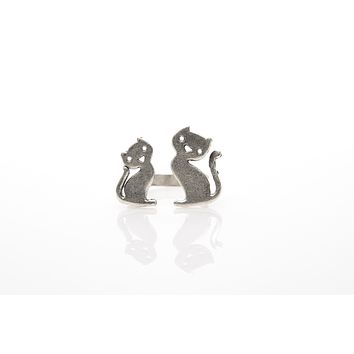 Cat Antique Silver Plated Adjustable Ring