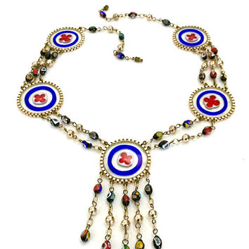 Rare Millefiori Necklace, Flat Clear Glass Disc Red & Blue Quatrefoil Leaflets Design, Multi-Color Millefiori Beads, Vintage Gift for Her
