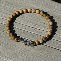 Men's Picture Jasper Buddah Bracelet ~ Unisex Stone Jewellery ~ Healing Stones ~ Semi Precious Stones ~ Gift for Man ~ Unique Gift for Him