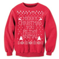 """Ugly Christmas Sweater """"MERRY CHRISTMAS Ya FILTHY Animal!"""" ya From Home Alone Sweat Shirt Red Unisex Contest Sweater Stocking Stuffer"""