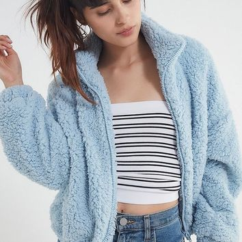UO Willow Fuzzy Drawstring Jacket | Urban Outfitters