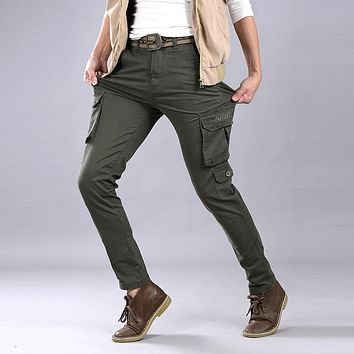 New arrival mens Stretch cotton skinny army green khaki black military cargo pants plus size 28-38 pantalones cargo homme m76