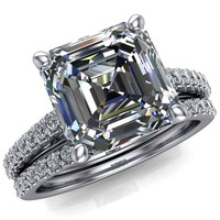 Wendy Asscher Moissanite Glow Cathedral Diamond 4 Prong Ring